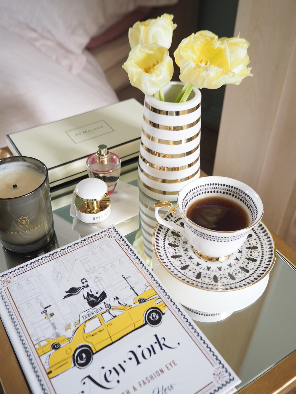 How to style a gold bedside table
