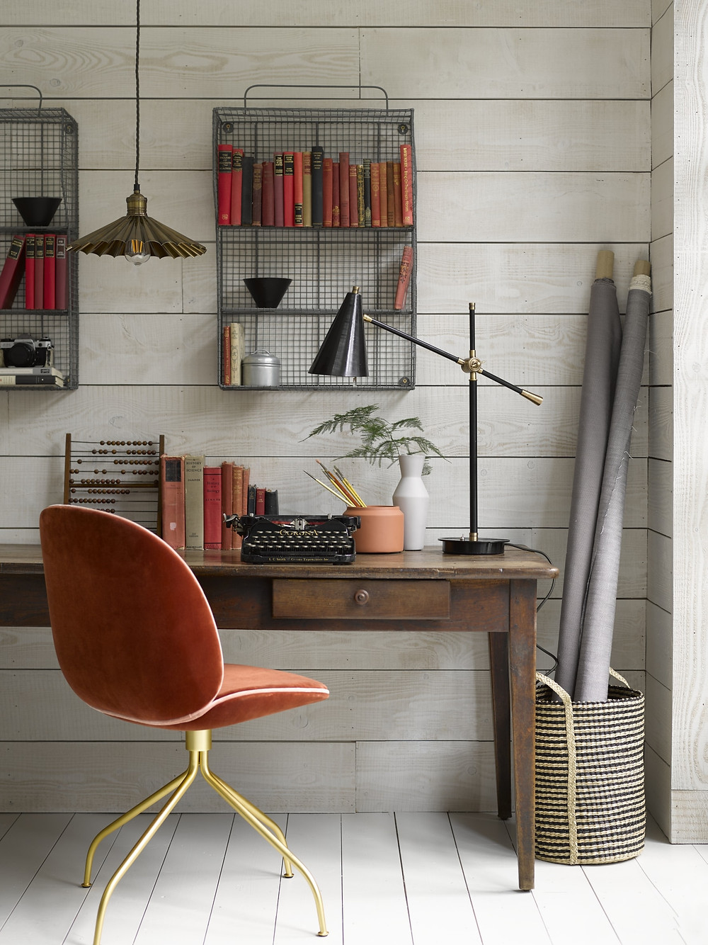 Pooky Mo desk lamp in an industrial work space with GUBI Beetle chair in velvet