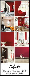 The ultimate guide to decorating with Caliente red. Benjamin Moore has revealed Caliente AF-290 as its highly anticipated Colour of the Year 2018. Unveiled alongside a corresponding palette consisting of 22 enlivening hues, this vibrant and charismatic shade of red is a bold yet soothing contemporary colour that oozes confidence. Wall colour - Caliente AF-290, Trim & Door colour - White Opulence OC-69