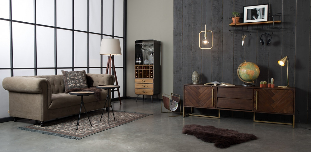 Dutchbone living room furnishing eclectic meets industrial decor styling