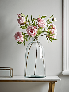 Pink Peony Sprays in a tall glass vase