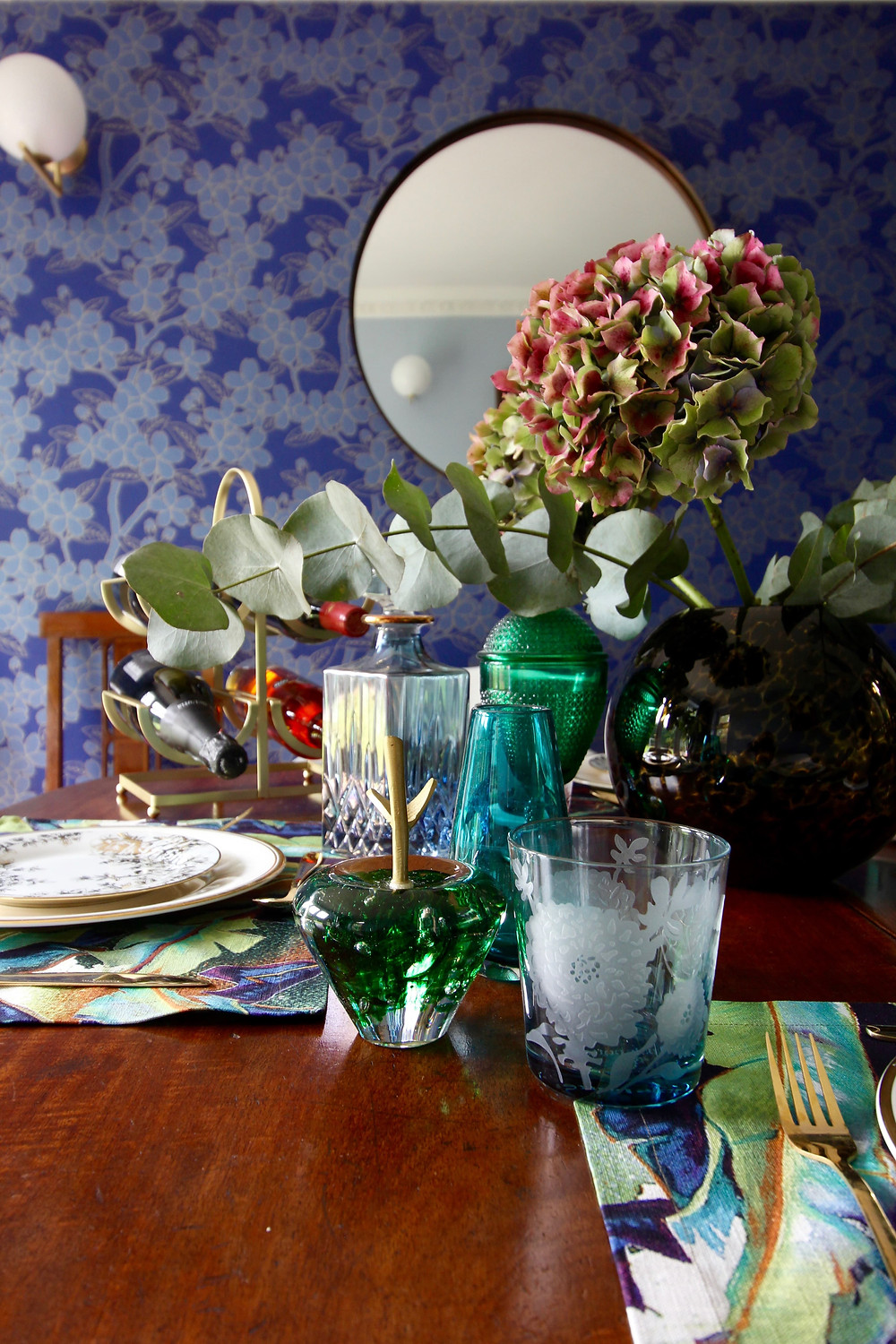 John Lewis Collector edit, a dining room with Camelia wallpaper by Little Greene POLS POTTEN tumblers