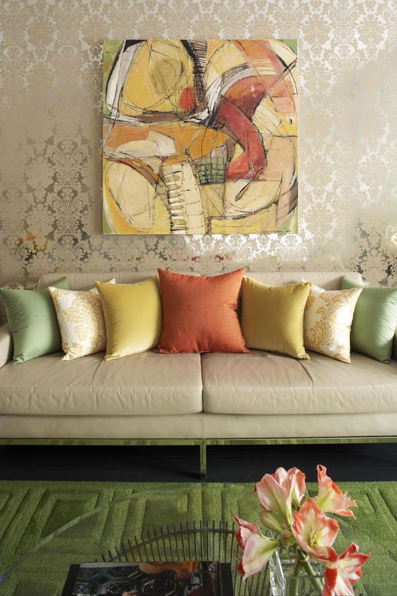 Five Dock House by Greg Natale sofa with cushions in front of baroque wallpaper and abstract art canvas