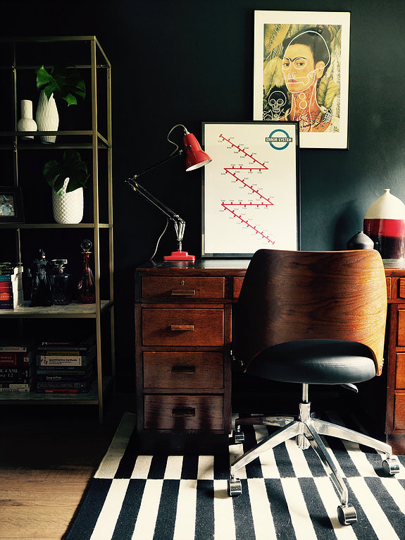 Farrow and Ball Railings wall, Butch aNTHONY fRIDA, mid century desk and chair, red anglepoise lamp and wall art