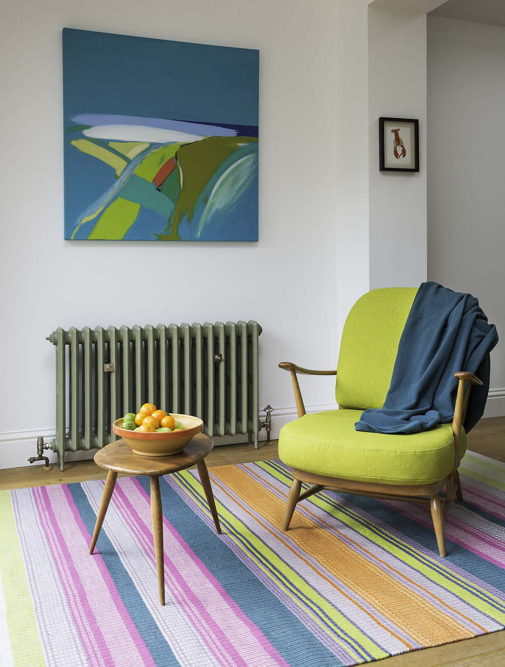 textile design weaver Angie Parker interview, neon coloured rugs and lime Ercol chair