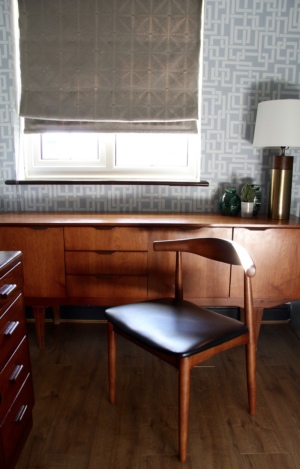 Enigma wallpaper in blue, mid century desk, Hailey chair Made.com and red Anglepoise desk lamp, Butch Anthony, IKEA bookcase hack