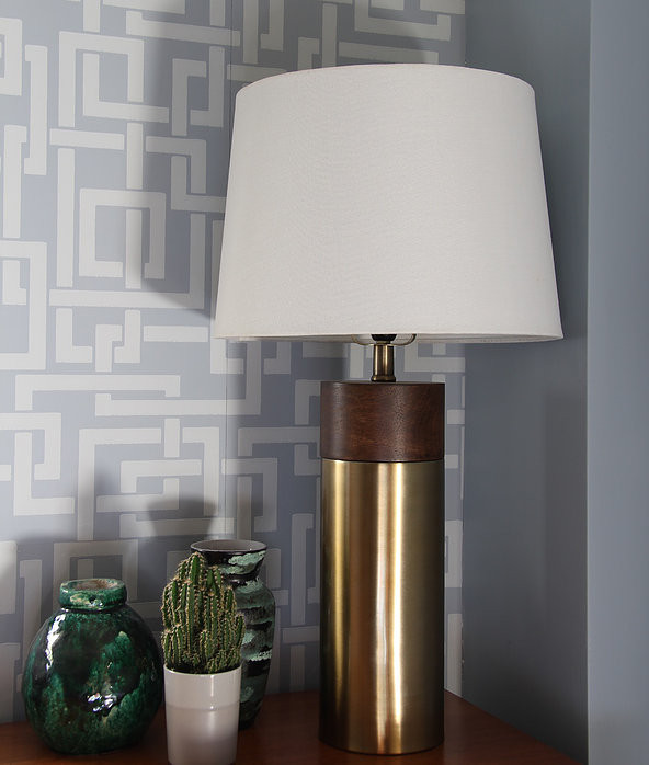 Enigma wallpaper in blue, mid century desk, Hailey chair Made.com and brass and wood lamp, green lava vase.