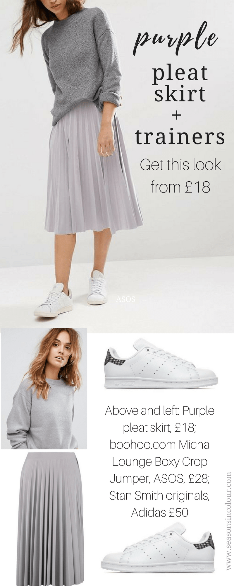 purple pleat skirt grey sweater and white trainers