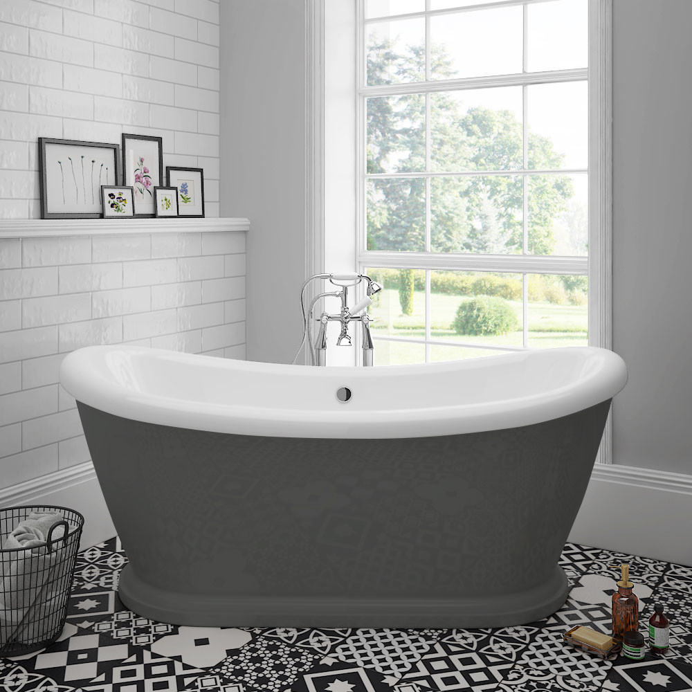 Chatsworth 1770 Double Ended Slipper Roll Top Bath Victorian white freestanding bath and floor in black and white, metro tiles on the wall.