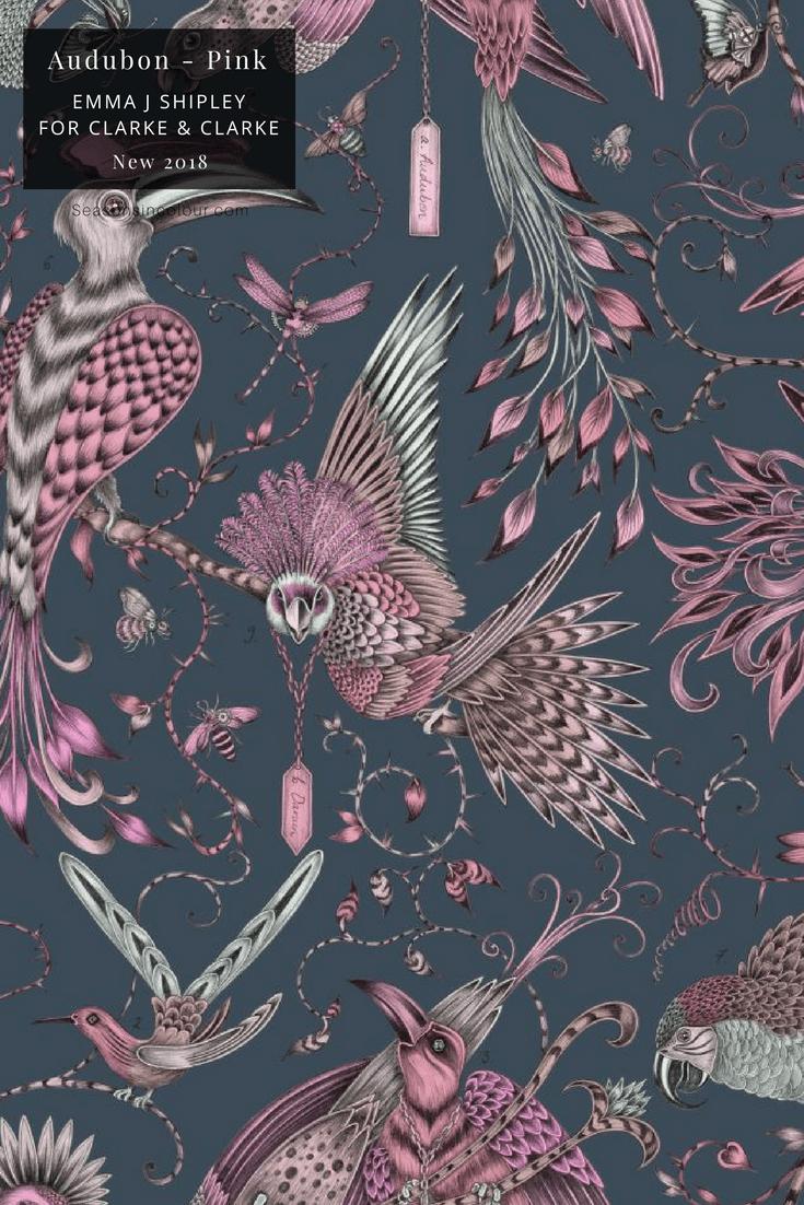Emma J Shipley Animalia Collection Clarke & Clarke Audubon Pink