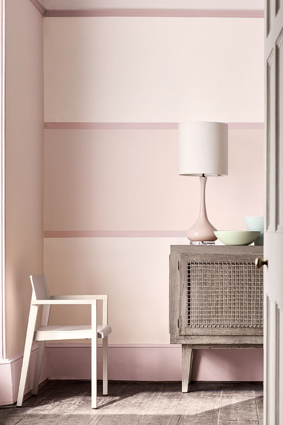 Decorate your walls with Little Greene's Dorchester pink paint chair painted and antique sideboard large pink lamp