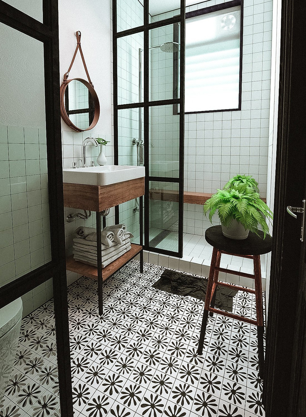 Chamomile Tile Stencils Kit from ETSY applied on bathroom floor
