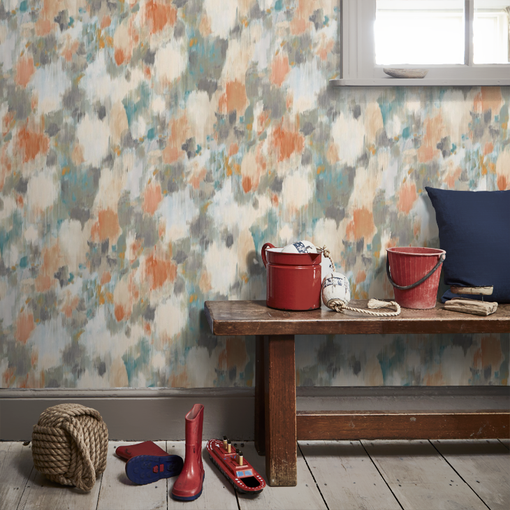Exuberance wallpaper in tangerine/ sepia from Harlequin