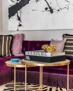 Interior Design practice Marks & Frantz purple sofa with bullion fringe and abstract art