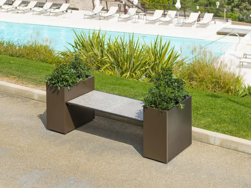 designer garden bench with integrated planter