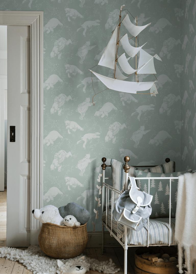 Borastapeter Polarn in Sea Greenkids wallpaper with polar bears