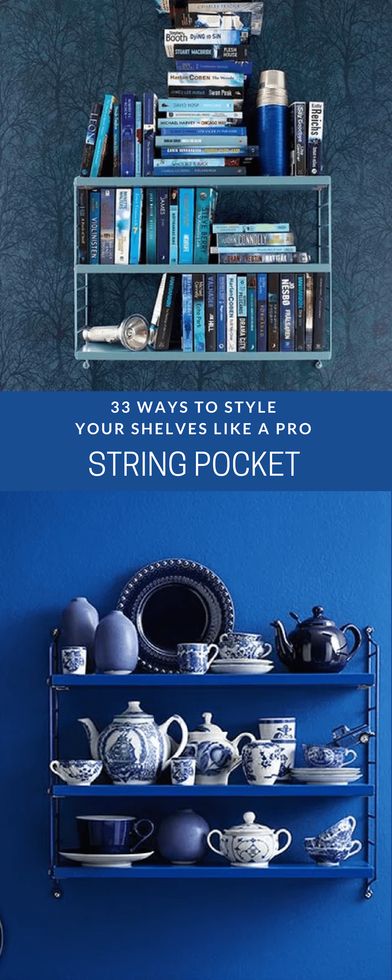 a String Pocket shelving system in blue against a blue wall and packed with blue ceramics