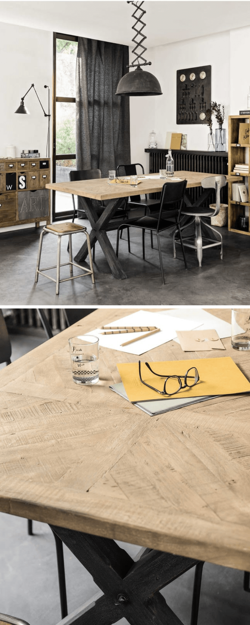 mango wood tabletop industrial style dining table Maisons du Monde with metallic effect base