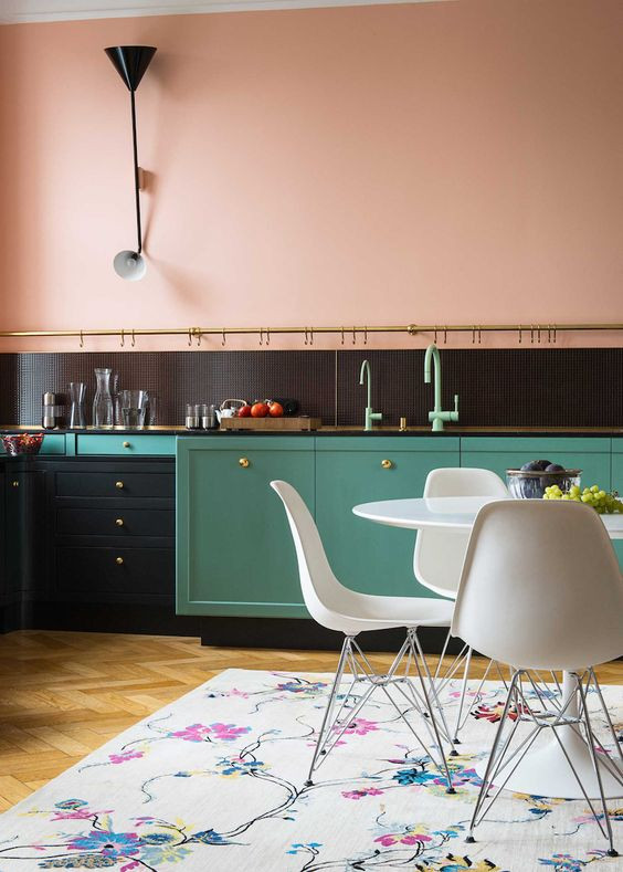 green and pink kitchen luxury kitchen eames white chair