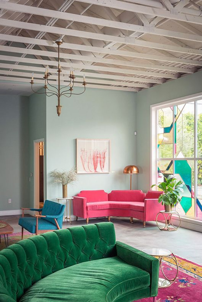 Pink And Green Living Room Green Velvet Sofa Oriental Pink Rug Interiors Part 79