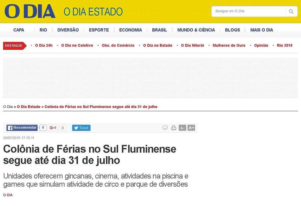 Jornal O Dia destaca Máquina do Esporte e Ação. Foto: Divulgação