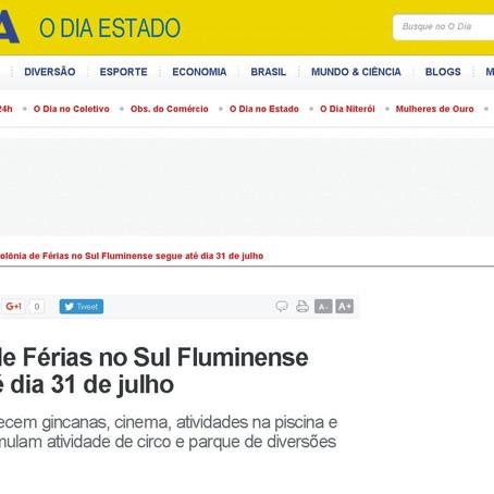 Jornal O Dia destaca uso de simuladores em Colônia de Férias!