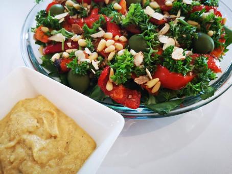 Dandelion and Ancient Grain Salad with Cauliflower Potato Dressing