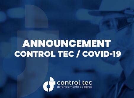 Control Tec COVID19 Announcement
