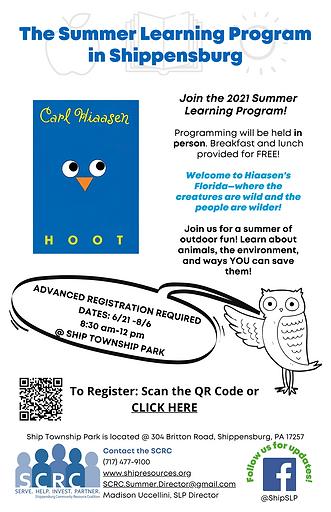 2021 Summer Learning Program Flyer (Fina
