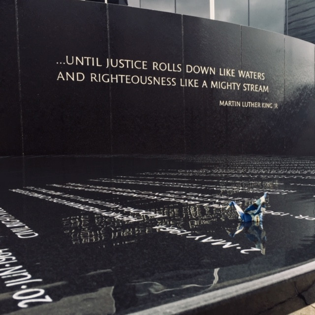 Civil Rights Memorial in Montgomery, honoring Dr. King and created by Maya Lin.