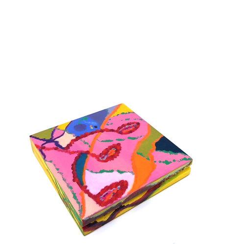 Hand-painted jewelry wood box (14 x 14 x 2.5 cm)