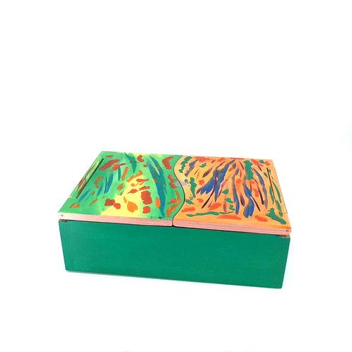 Hand-painted jewelry wood box (18 x 12 x 6 cm)
