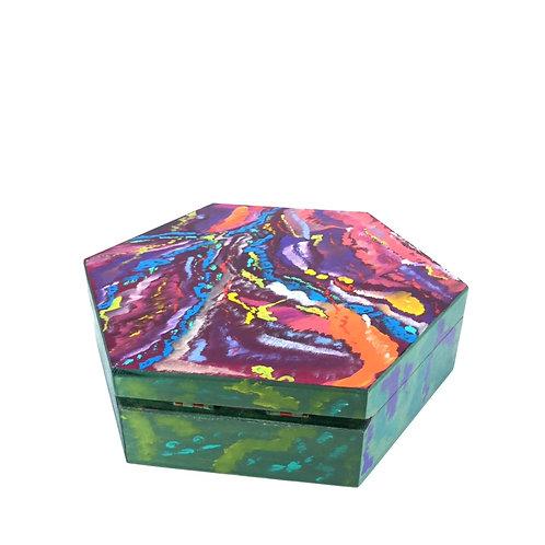 Hand-painted jewelry wood box (19.3 x 19.3 x 5.8 cm)