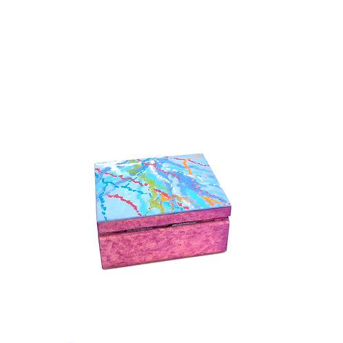 Hand-painted jewelry wood box (10 x 8 x 5 cm)