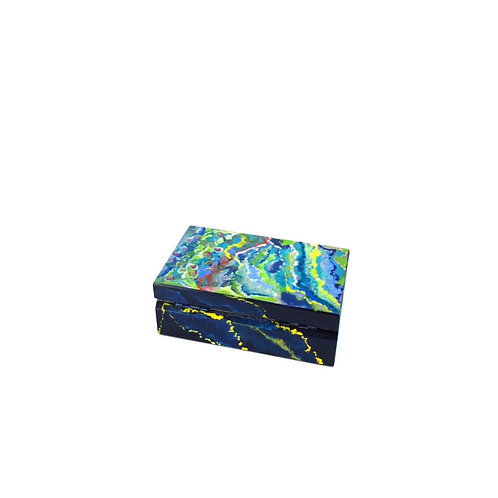 Hand-painted jewelry wood box (9.8 x 6 x 3.7 cm)