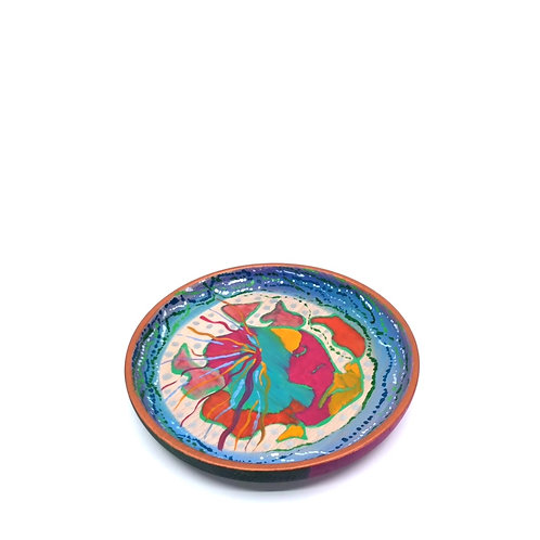 Hand-painted wood plate (𝜙 19 cm)