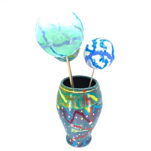 Hand-painted ceramic vase (H 14 cm, 𝜙 8 cm)