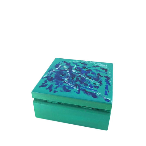 Hand-painted jewelry wood box (13 x 13 x 6 cm)