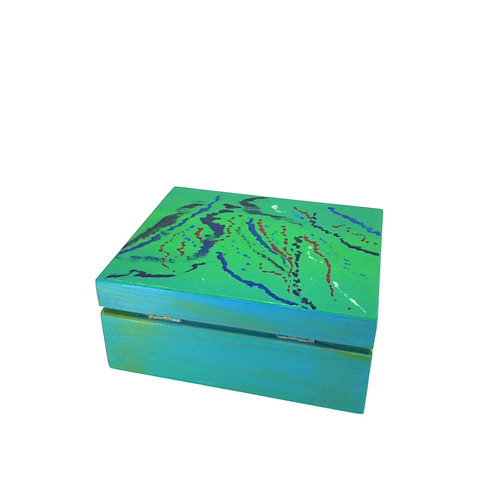 Hand-painted jewelry wood box (14.3 x 11.8 x 6.2 cm)
