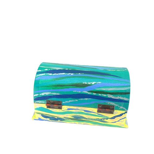 Hand-painted jewelry wood box (15.5 x 9 x 7.8 cm)