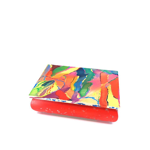 Hand-painted jewelry wood box (18.5 x 12.5 x 5.5 cm)
