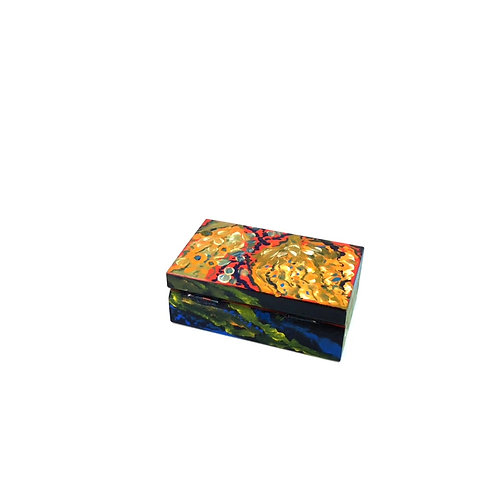Hand-painted jewelry wood box (10 x 6 x 3.5 cm)