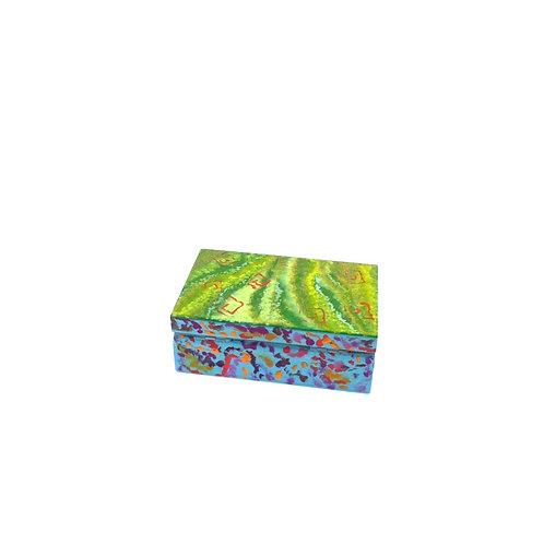 Hand-painted jewelry wood box (9.8 x 6 x 3.7 cm)