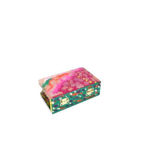 Hand-painted jewelry wood box (11 x 7 x 3.5 cm)