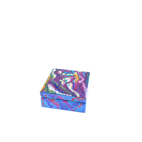 Hand-painted jewelry wood box (8.5 x 8.5 x 3.5 cm)