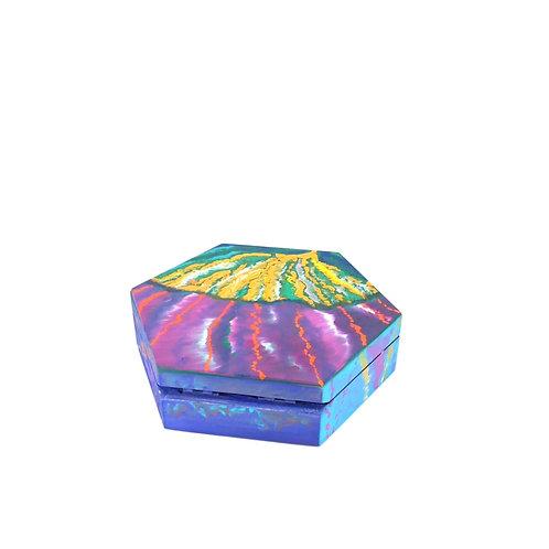 Hand-painted jewelry wood box (13.5 x 13.5 x 4 cm)