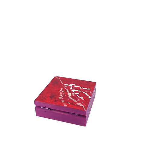 Hand-painted jewelry wood box (10 x 10 x 3.5 cm)