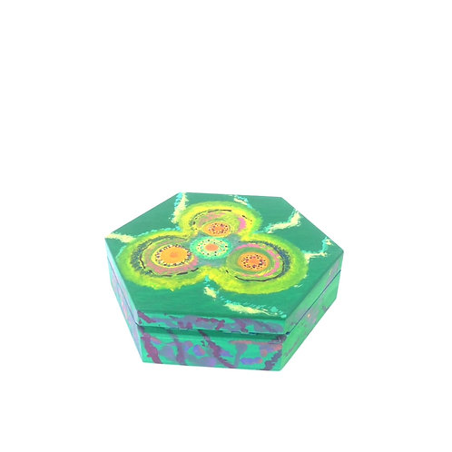 Hand-painted jewelry wood box (13.5 x 13.5 x 4 cm)