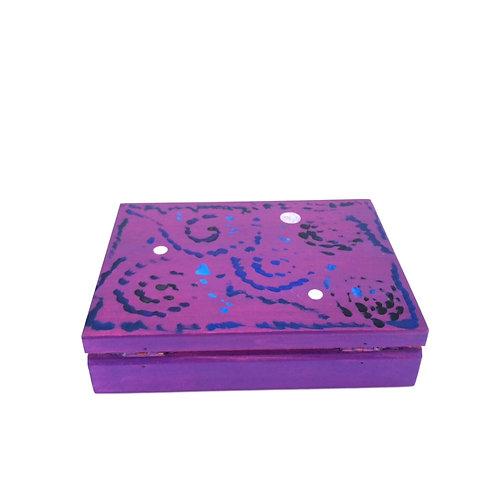 Hand-painted jewelry wood box (16 x 12 x 4 cm)