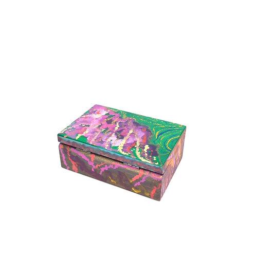 Hand-painted jewelry wood box (12.5 x 8.5 x 4.8 cm)